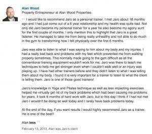 Client Testimonial Alan Wood