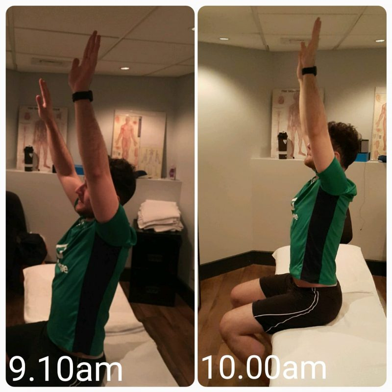 improved, better, much greater shoulder flexion
